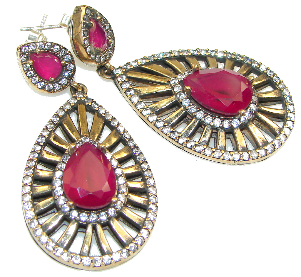 Large! Gorgeous Pink Ruby Sterling Silver earrings