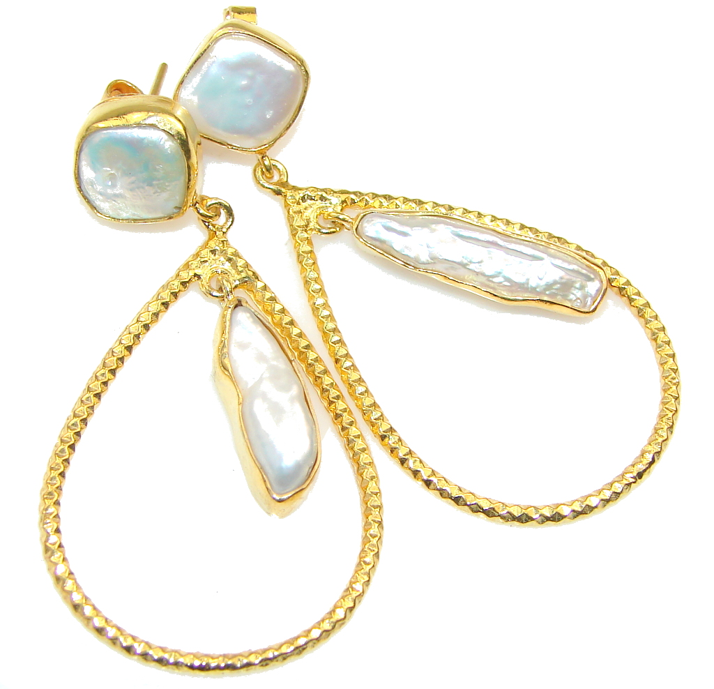New Gorgeous Design!! Mother of Pearl, Gold Plated Sterling Silver earrings