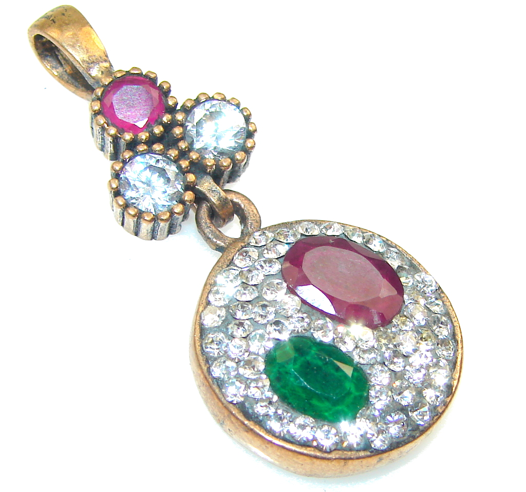Perfect! Green Emerald, Ruby Sterling Silver Pendant