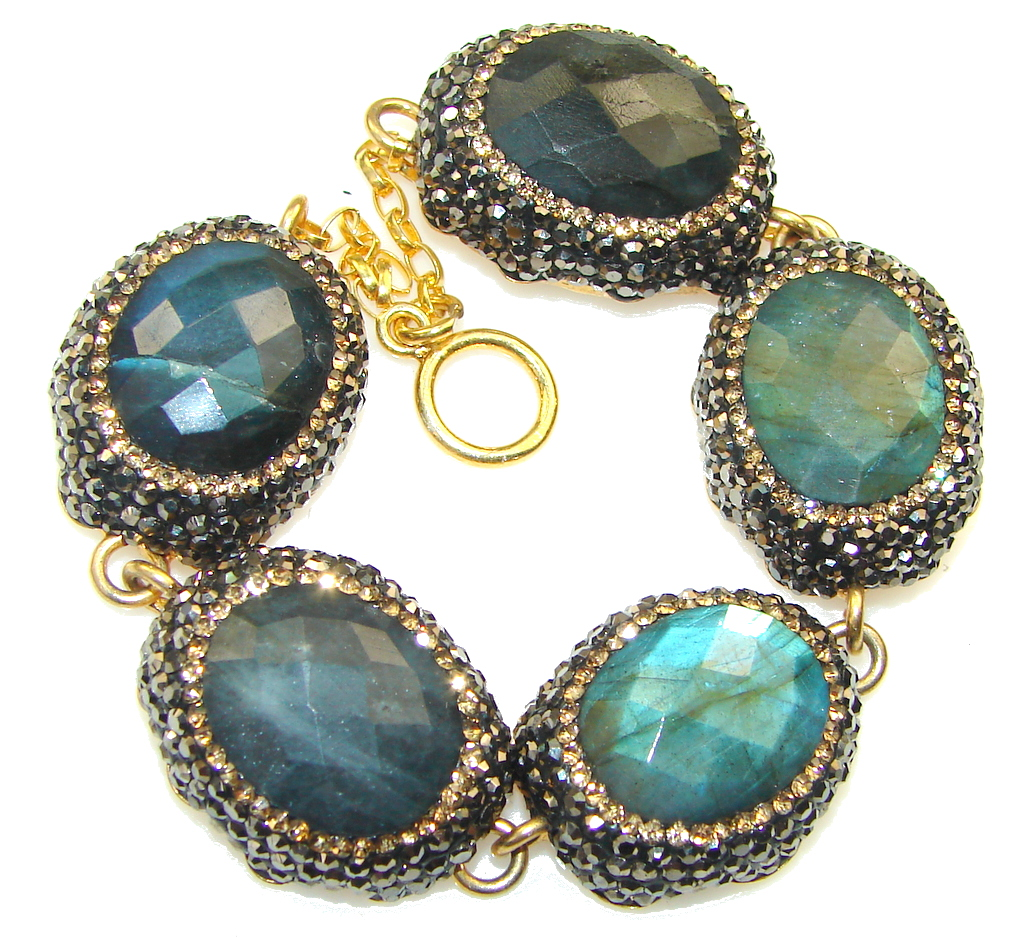 marcassite.com Path Of Life!! Blue Fire Labradorite, Gold Plated Sterling Silver Bracelet