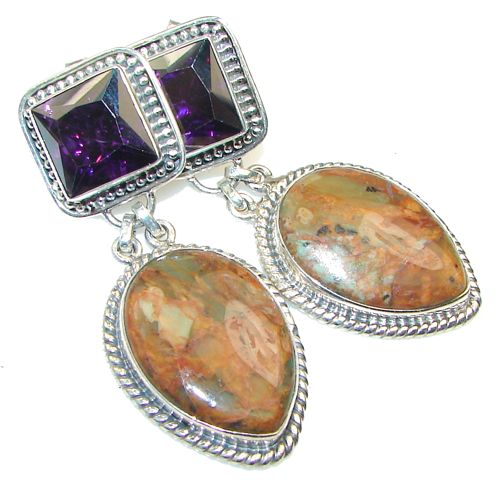 Image of Evening Secret!! Montana Agate Sterling Silver earrings