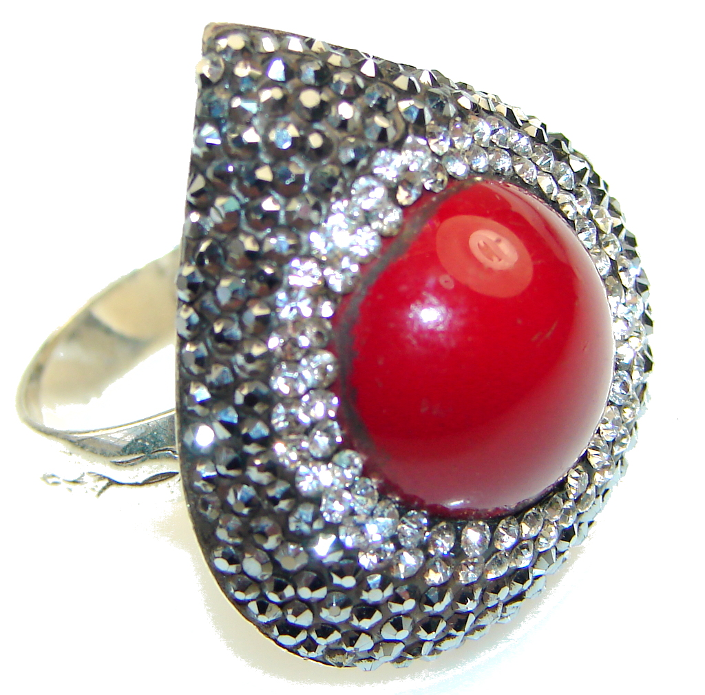 marcassite.com view the photo of  Love Power!! Red Coral Sterling Silver Ring s. 8 1/4