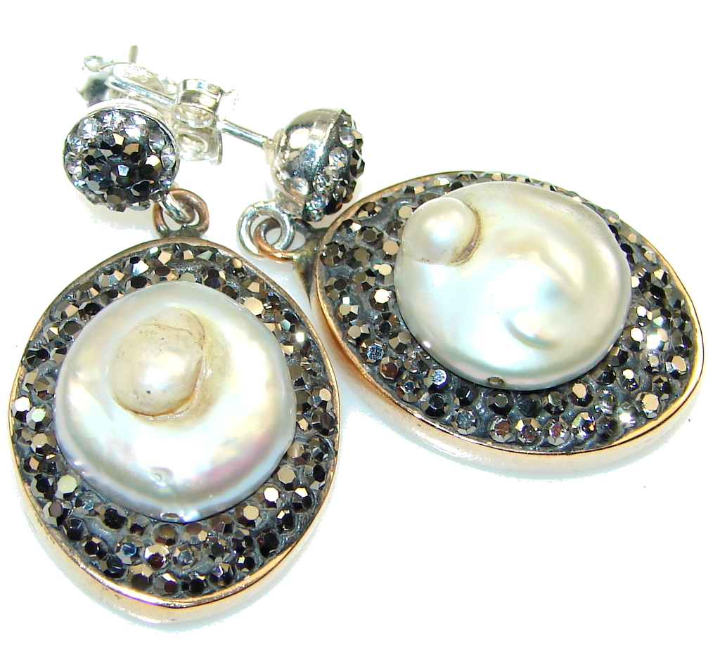 Turkish Style! Mother of Pearl Sterling Silver earrings
