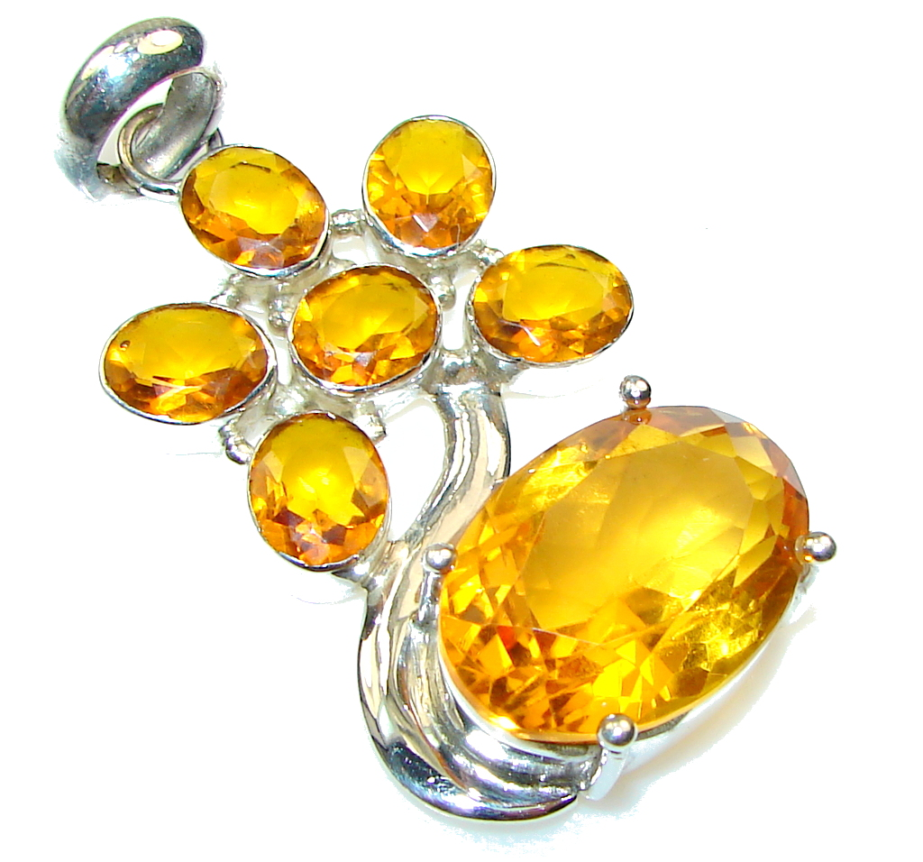 Amazing Color Of Honey Topaz Sterling Silver Pendant