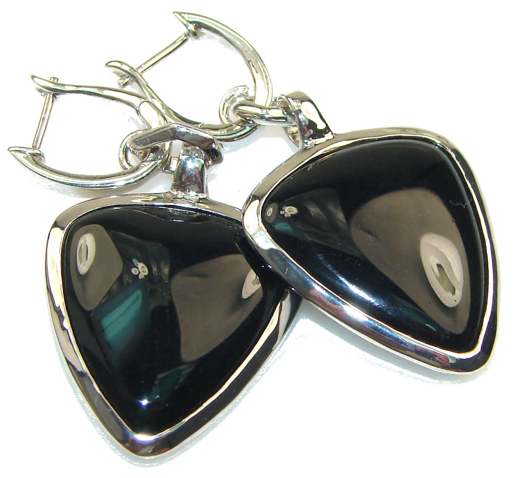 Fabulous Style!! Black Onyx Sterling Silver earrings