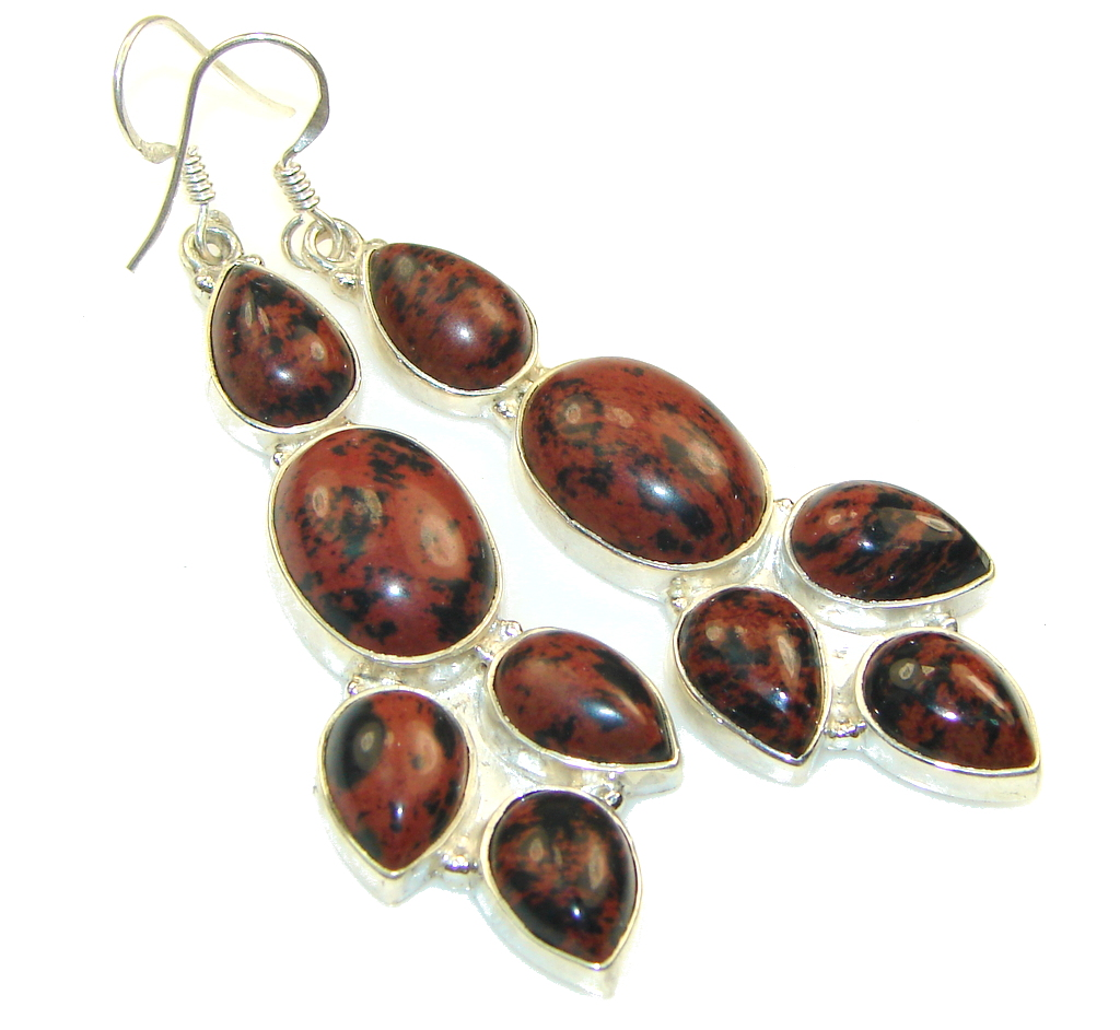 Big! Classy Red Obsidian Sterling Silver earrings