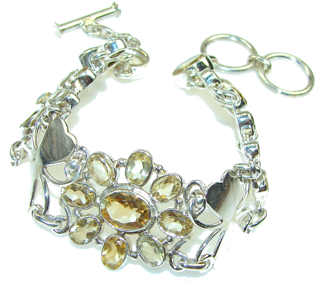 Perfect! Natural Yellow Citrine Sterling Silver Bracelet