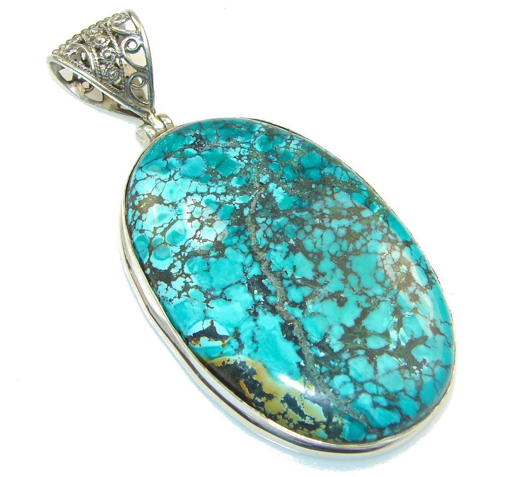 Big!! China Mountain A-Grade Blue with Extra Fine Spiderweb Turquoise Sterling Silver Pendant