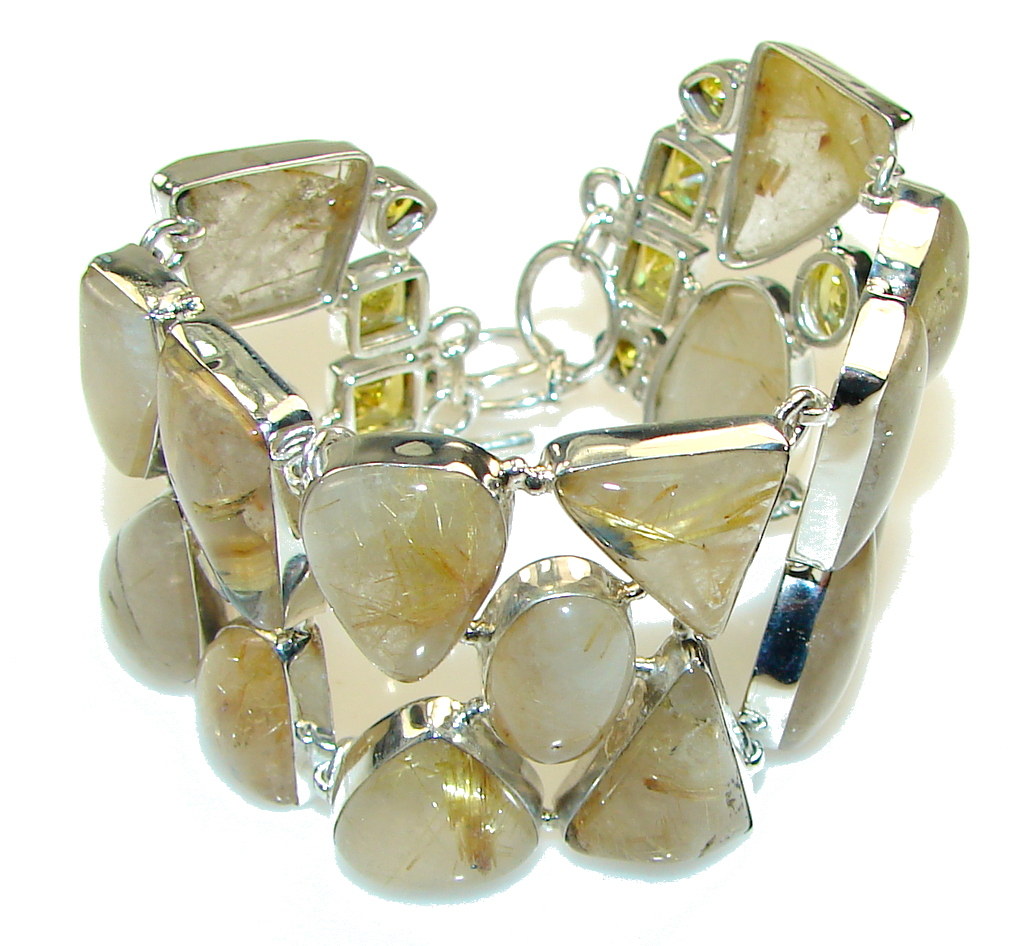 Fancy Quality!! Golden Rutilated Quartz Sterling Silver Bracelet