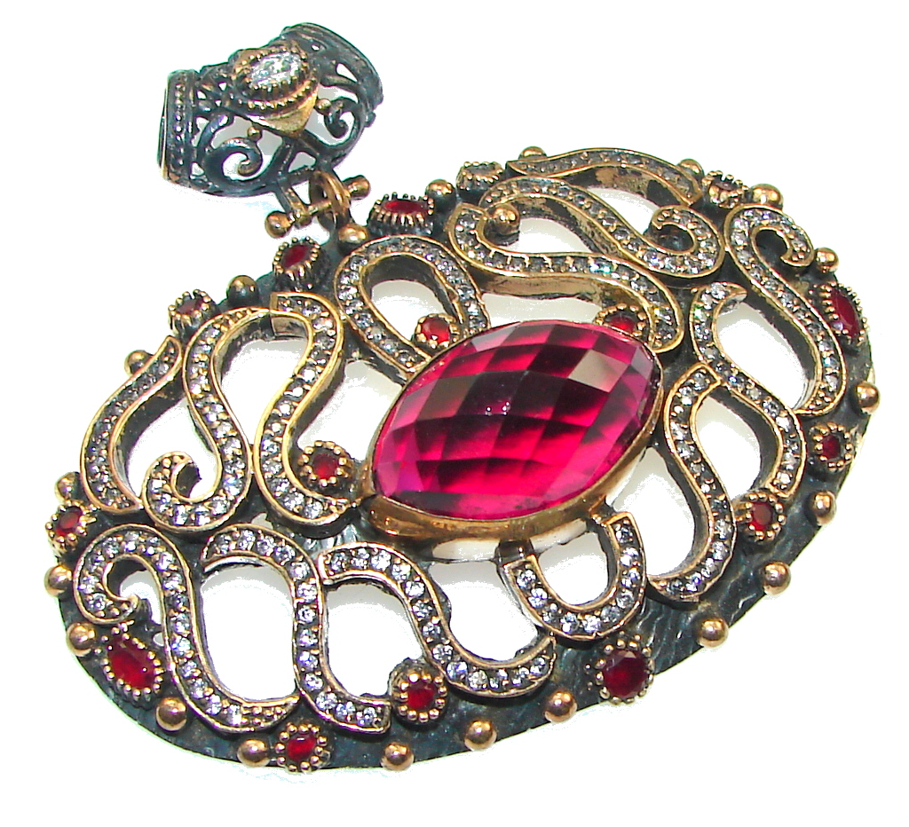 Large! Outstanding Kashmire Pink Quartz Ruby Sterling Silver pendant