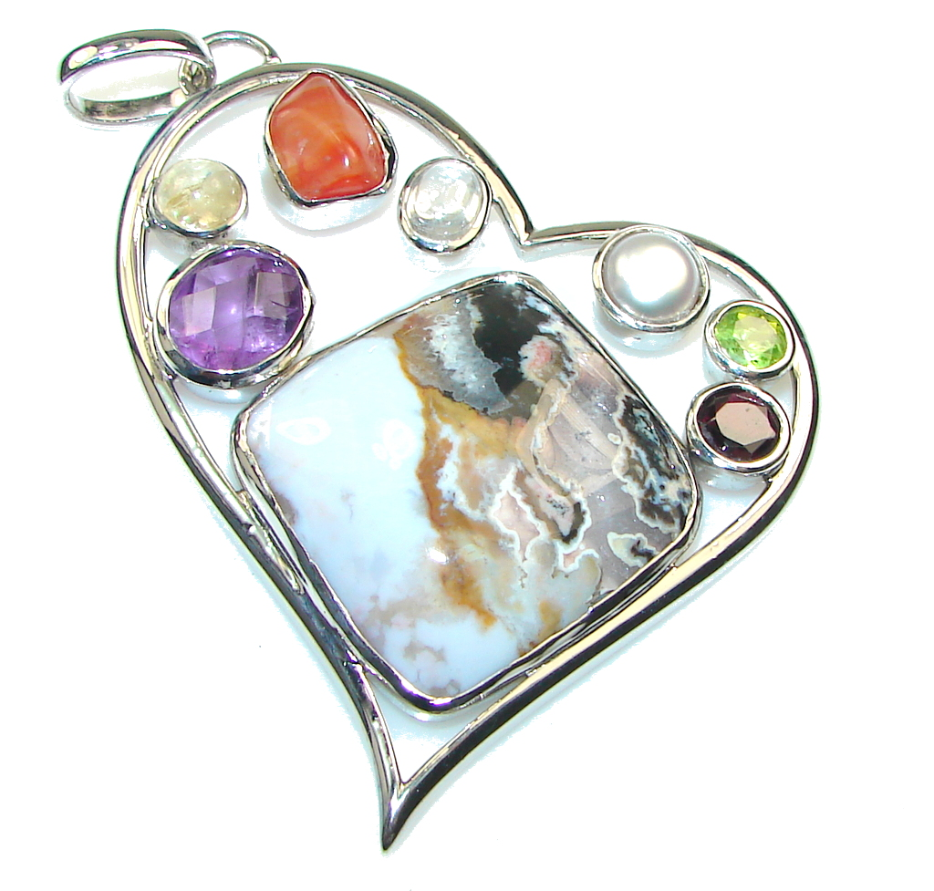 Big! Awesome Moss Montana Agate Sterling Silver Pendant