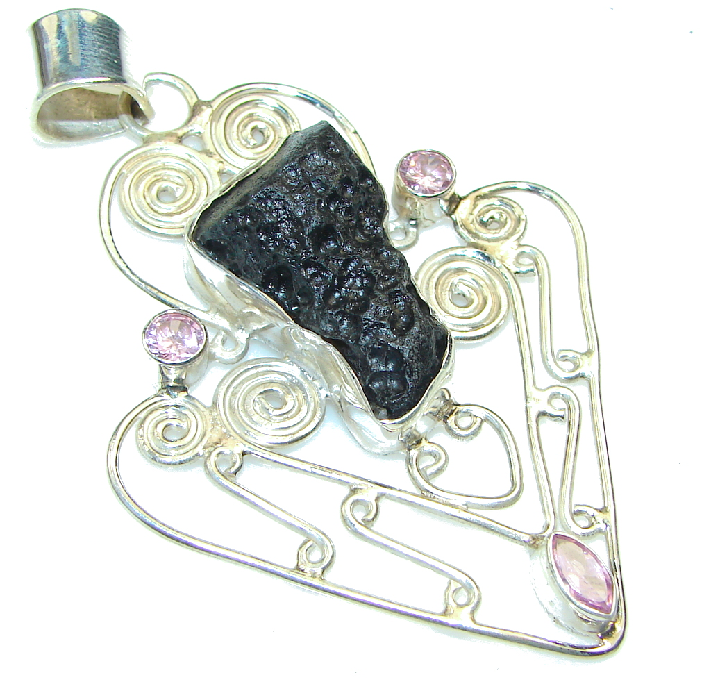 Big! Fashion Black Onyx Sterling Silver Pendant