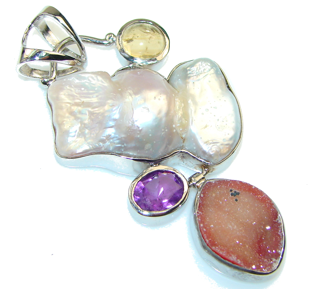 Amazing AAA Mother Of Pearl Sterling Silver Pendant