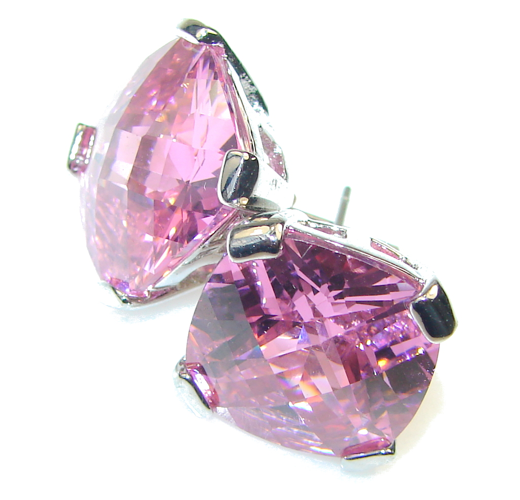 Secret!! Created Pink Sapphire Sterling Silver earrings