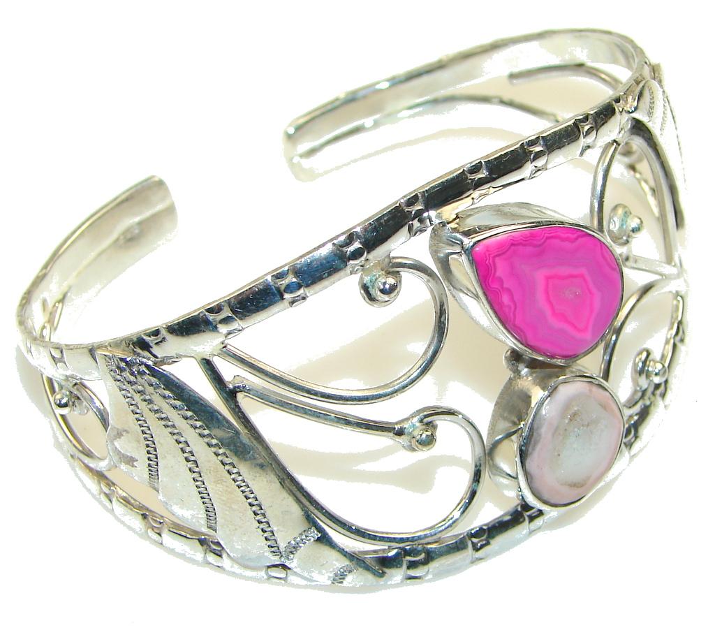 Pale Beauty!! Pink Agate Sterling Silver Bracelet / Cuff