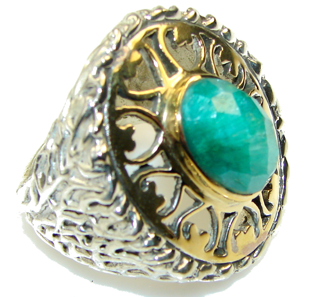 Big! Celebrations Green Emerald, Gold Plated Sterling Silver ring s. 8 1/4