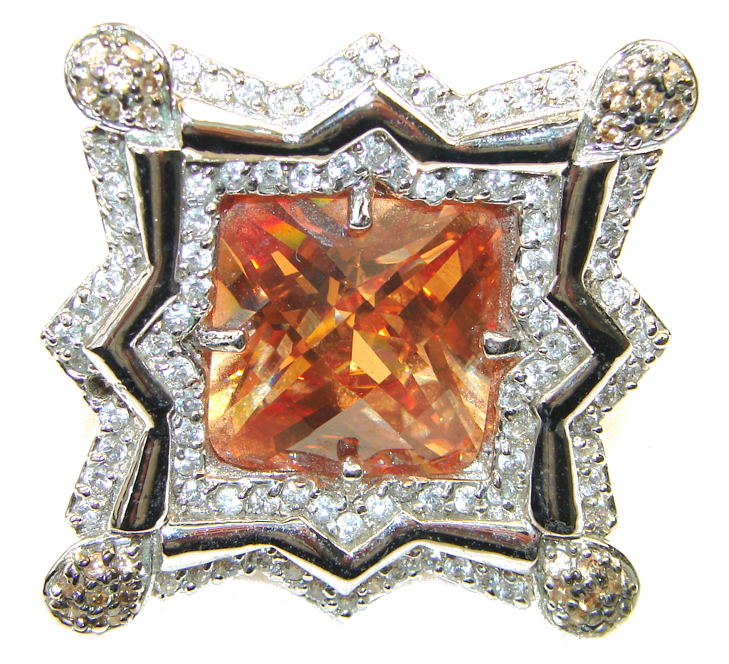 Large! New Fashion Of Golden Topaz Sterling Silver Ring s. 6 1/4