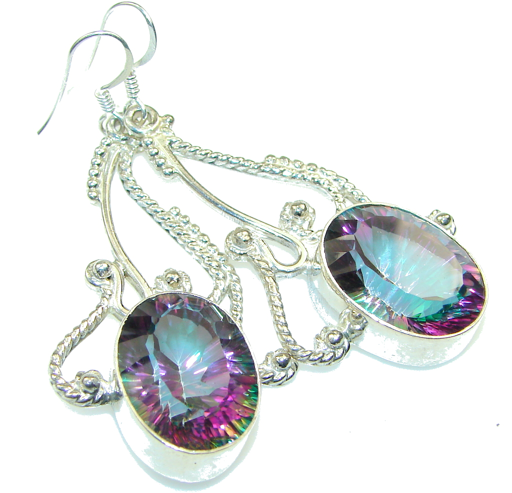 Big! Amazing Rainbow Magic Topaz Sterling Silver earrings