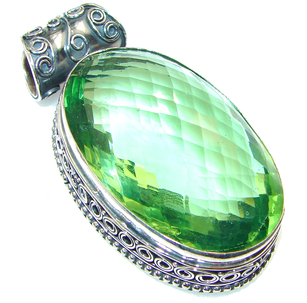 Awesome Green Quartz Sterling Silver Pendant