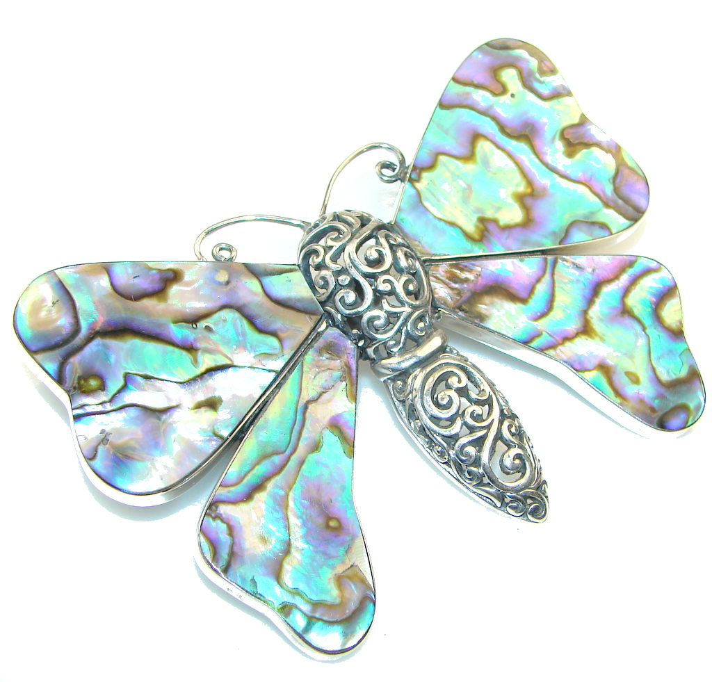 Big! Fashion Rainbow Abalone Sterling Silver Pendant / Brooch