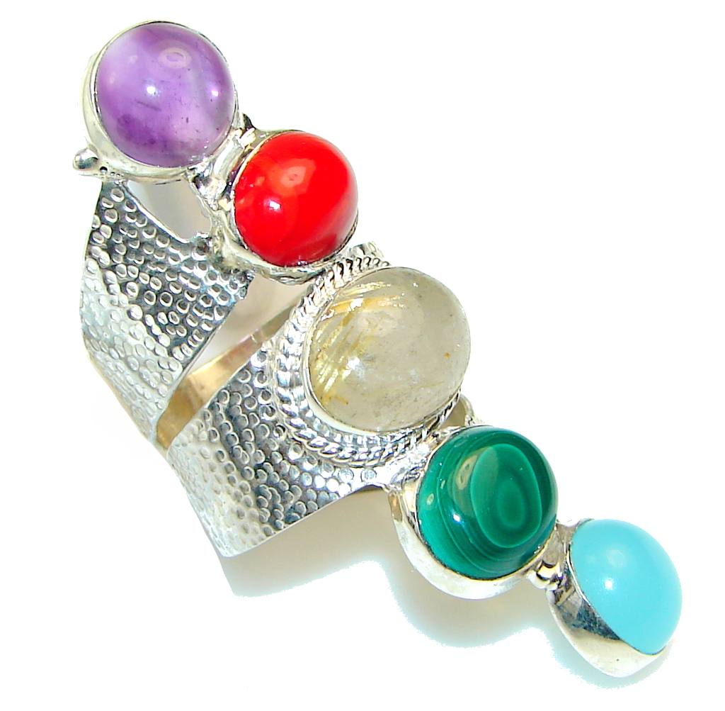 Ray Of Light!! Multistone Sterling Silver Ring s. 6