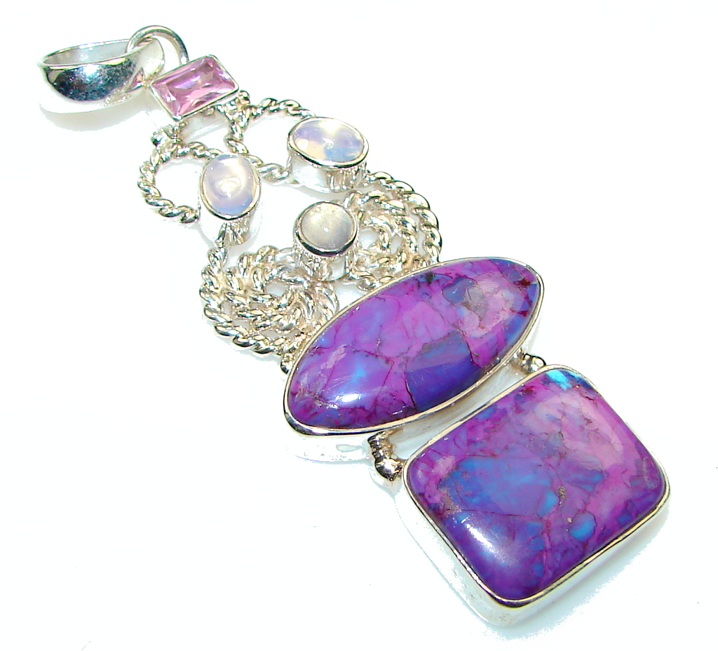 Big! Stylish Purple Turquoise Sterling Silver Pendant