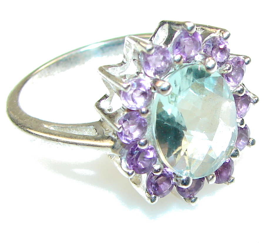 Amazing!! Light Green Amethyst Sterling Silver Ring s. 9