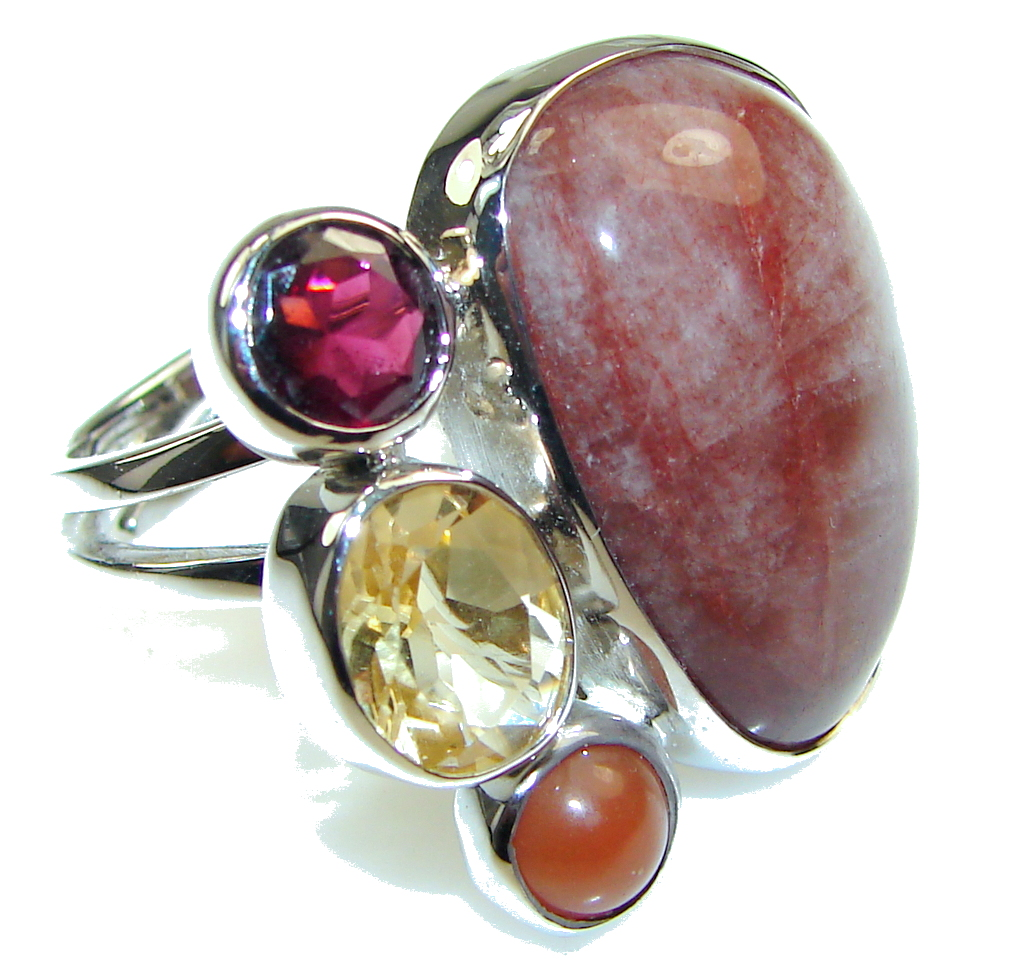 Awesome Style Untreated Ruby Sterling Silver ring s. 8 - adjustable