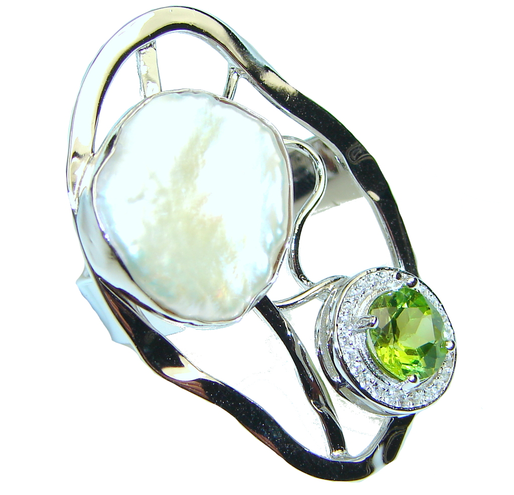 Exclusive!! Green Peridot Sterling Silver Ring s. 8 - Adjustable