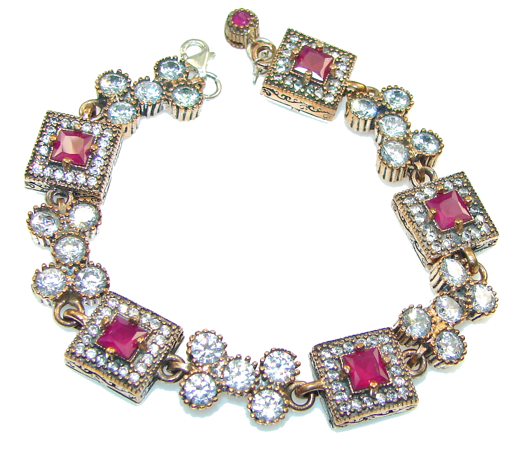 Exclusive!! Pink Ruby Sterling Silver Bracelet
