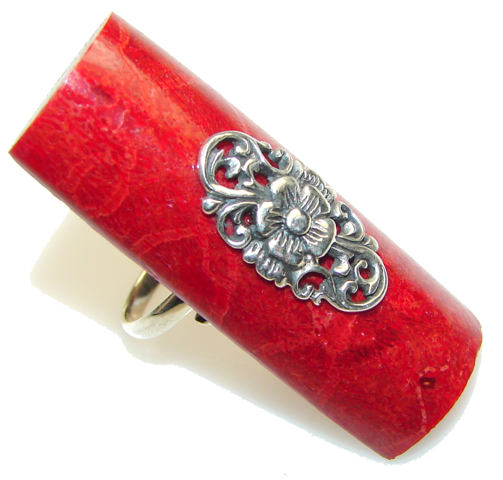 Big! Lovely Red Fossilized Coral Sterling Silver ring s. 7 - Adjustable