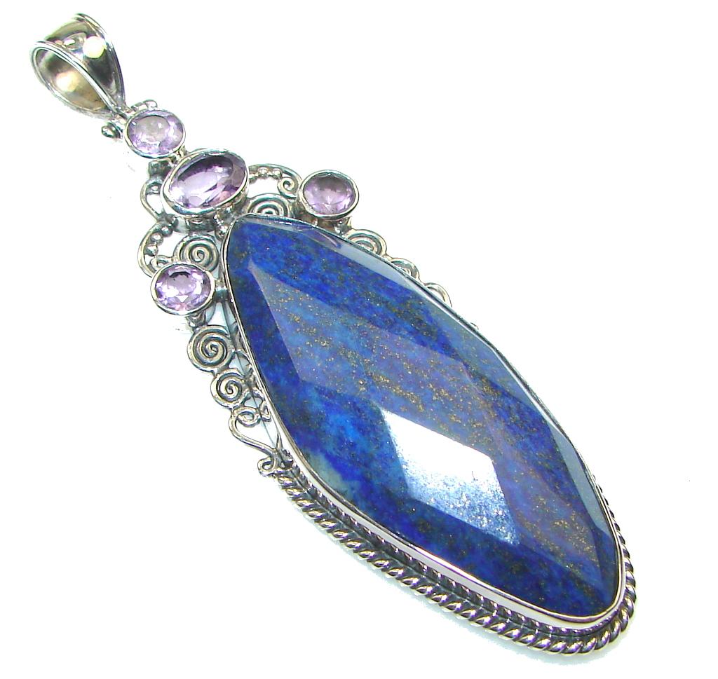 Big! Fantastic!! Blue Lapis Lazuli Sterling Silver Pendant
