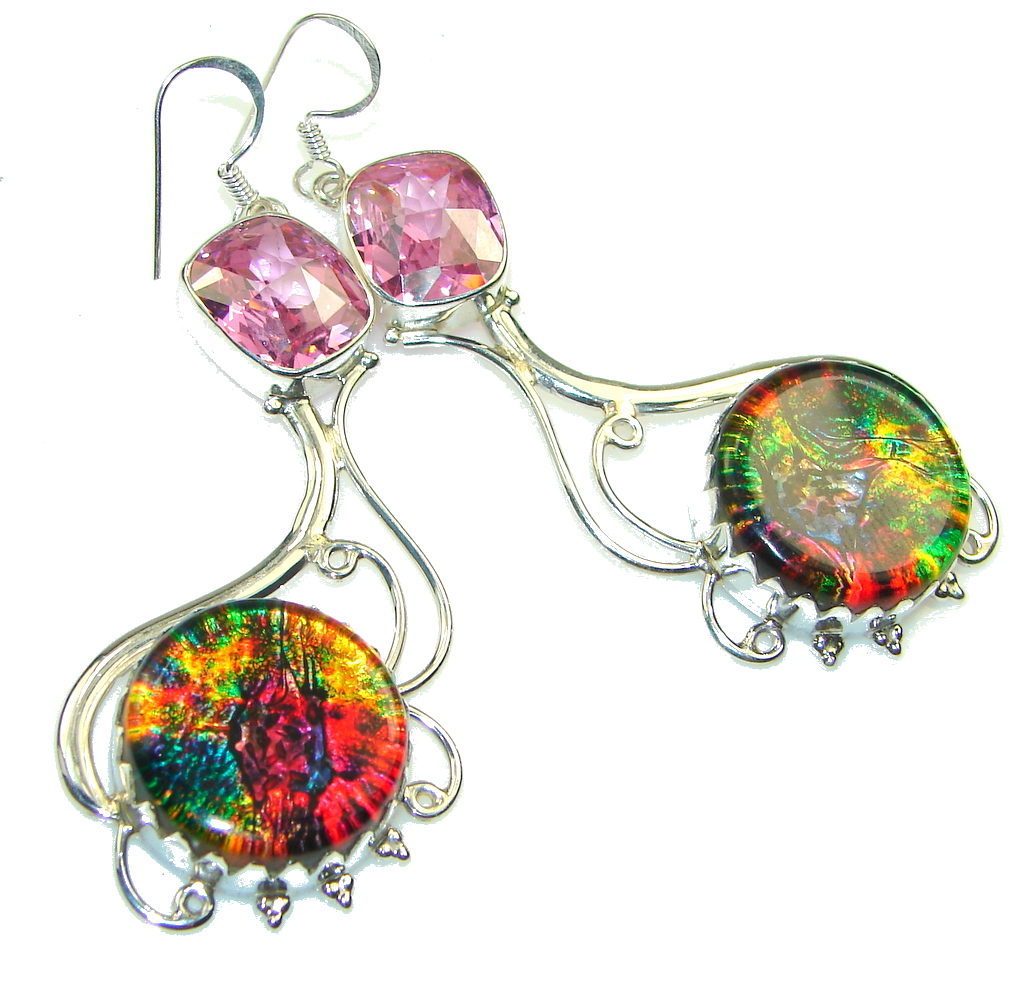 Big! Rainbow Dichroic Glass Sterling Silver earrings