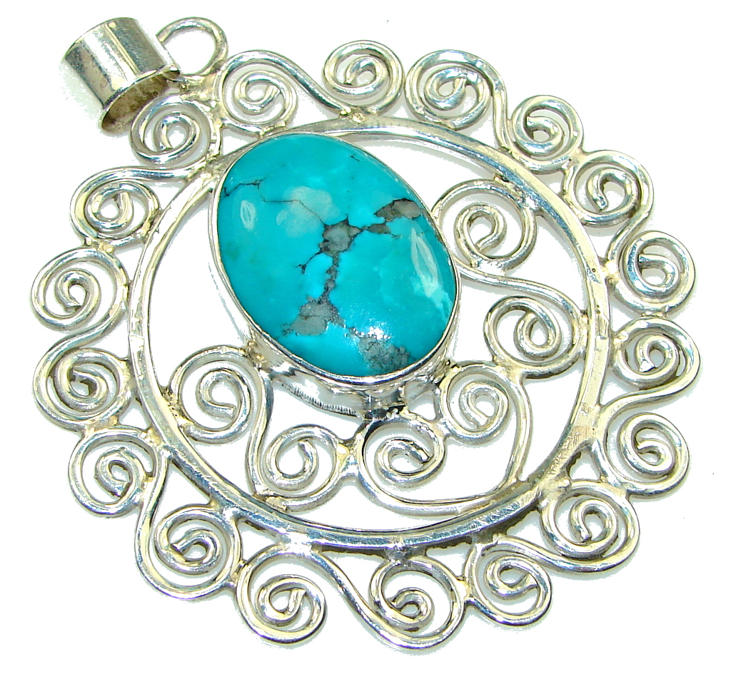 Large! Fabulous Blue Turquoise Sterling Silver Pendant
