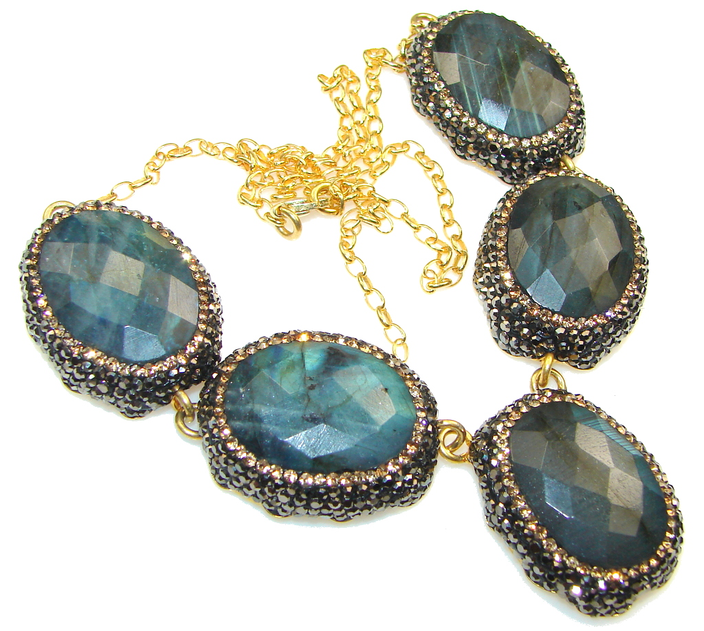 Beautiful!! Natural Blue Fire Labradorite, Gold Plated Sterling Silver necklace