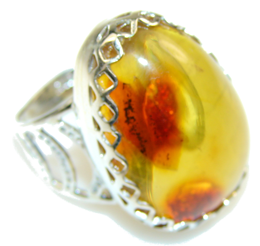 Secret!! Brown Polish Amber Sterling Silver Ring s. 9