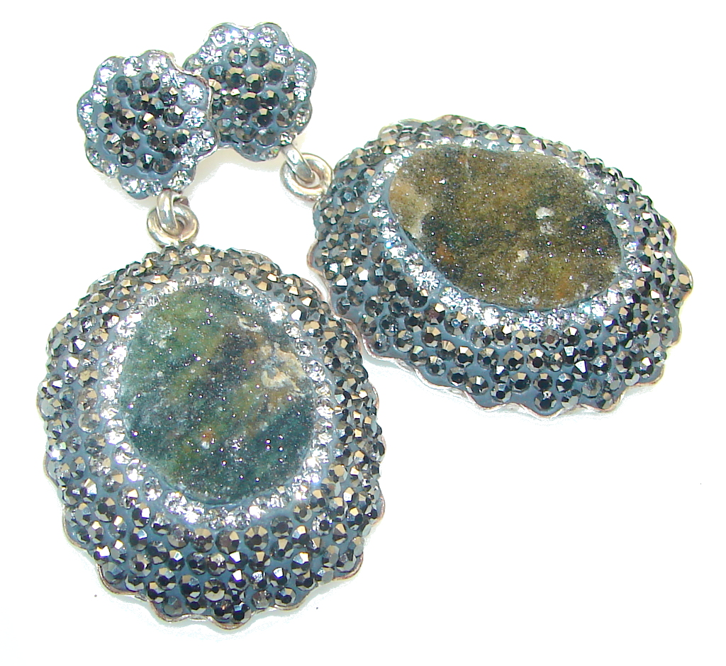 marcassite.com Fashion Design!! Green Druzy Sterling Silver Earrings