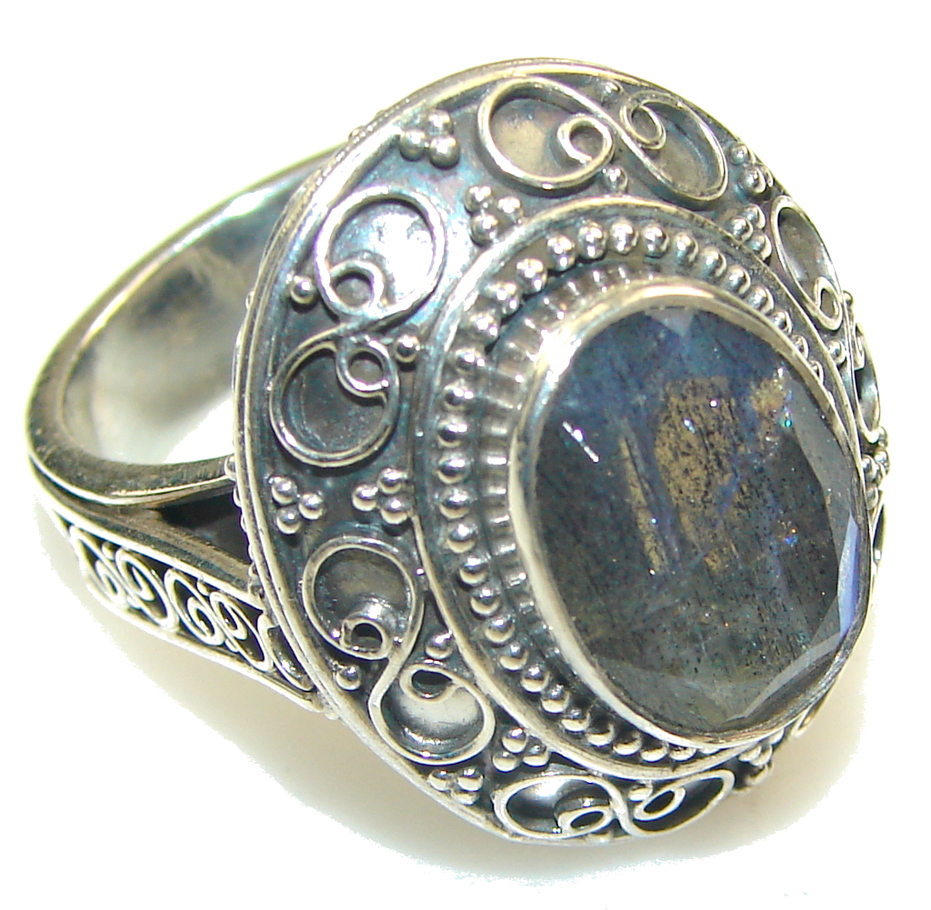 Excellent!! Blue Fire Labradorite Sterling Silver Ring s. 7 1/4
