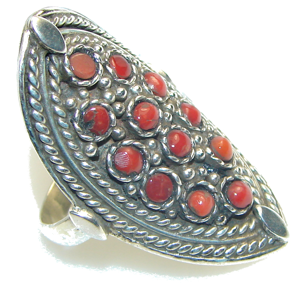 Stylish! Red Fossilized Coral Sterling Silver ring s. 9 1/2