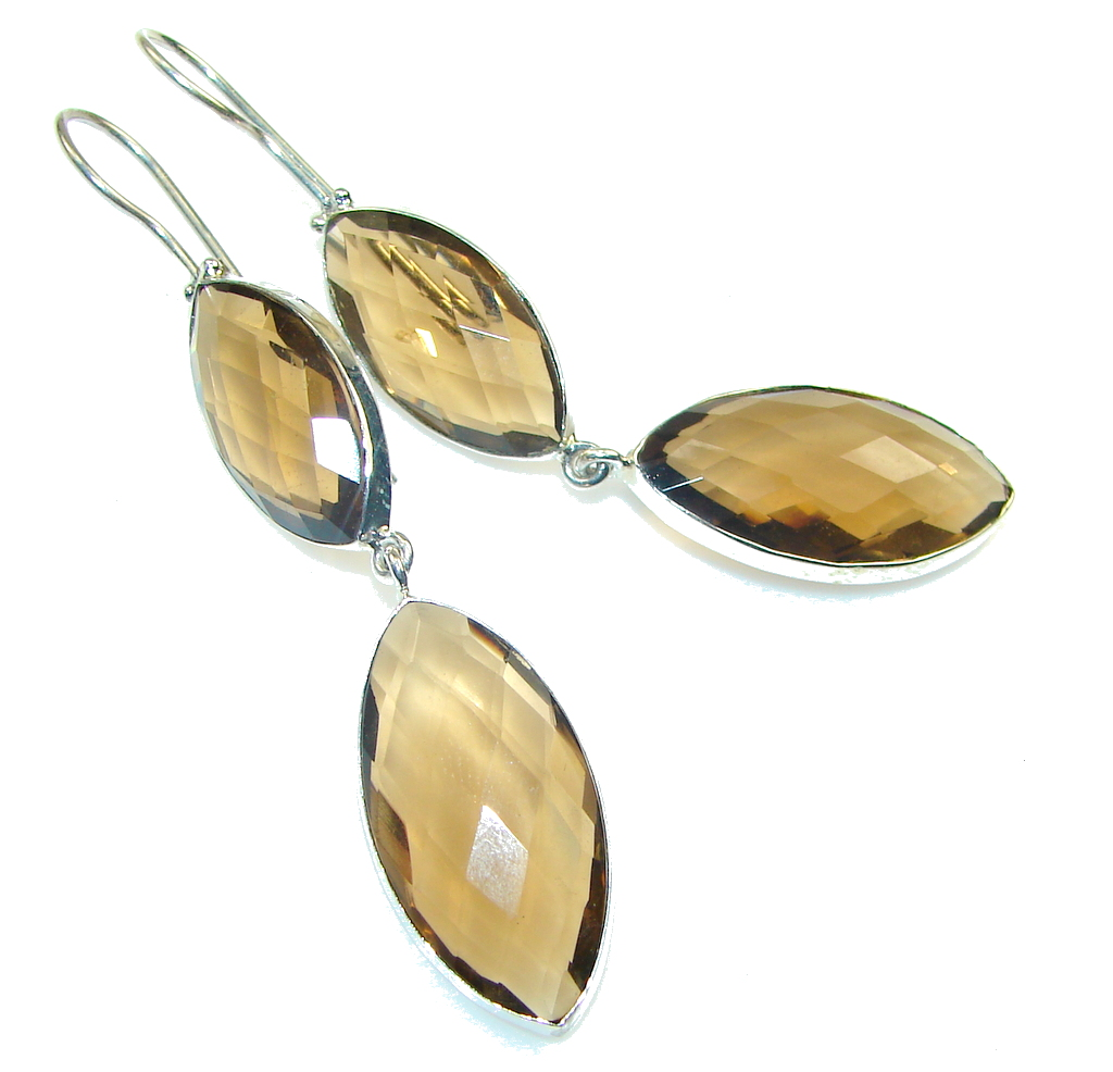Amazing! Light Brown Smoky Topaz Sterling Silver earrings / Long