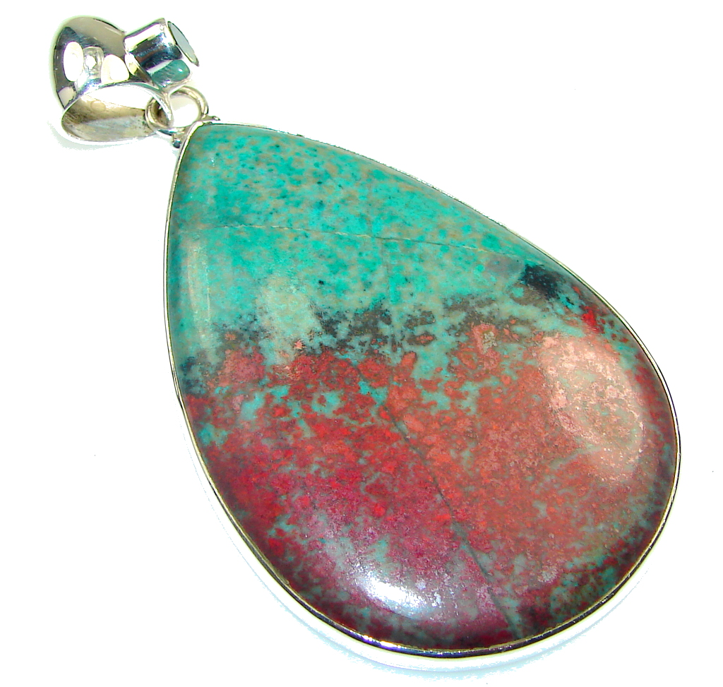 Big! Amazing Red Sonora Jasper Sterling Silver Pendant