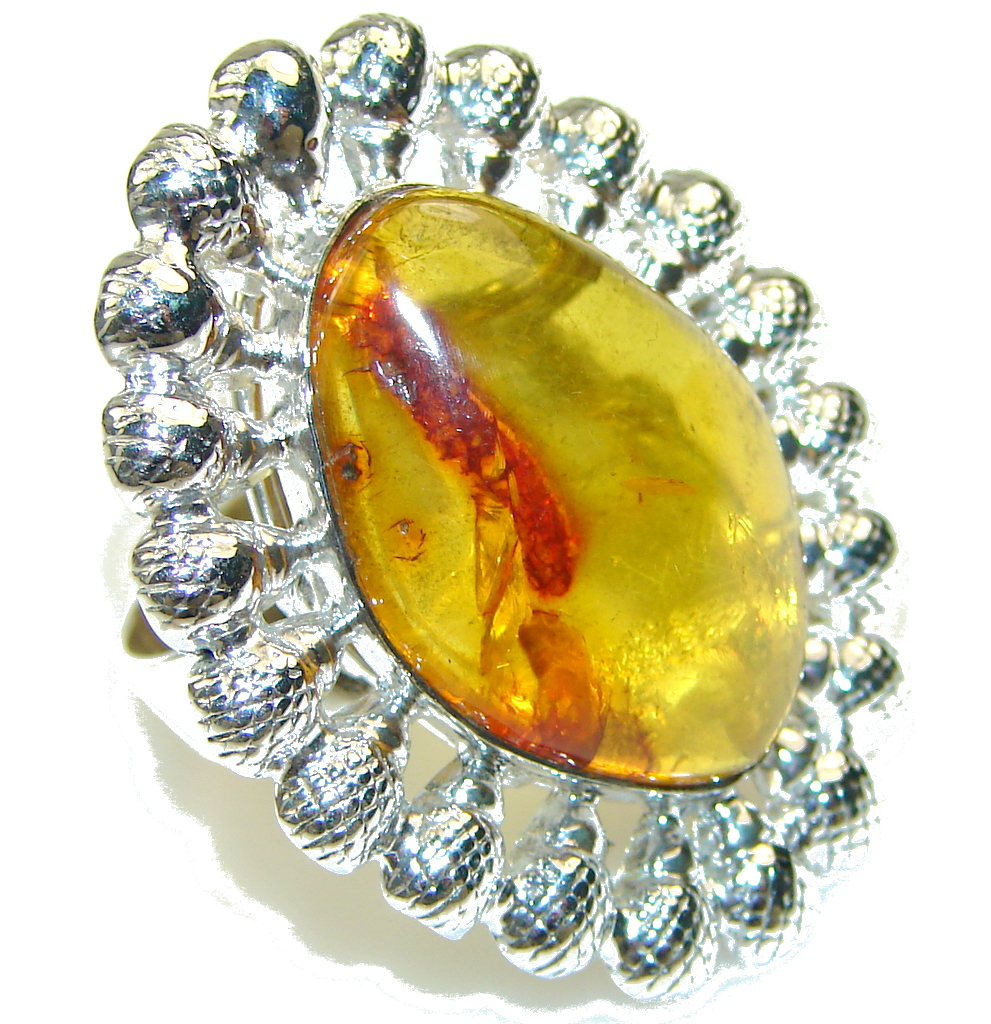 Big! Natural Polish Amber Sterling Silver Ring s. 7