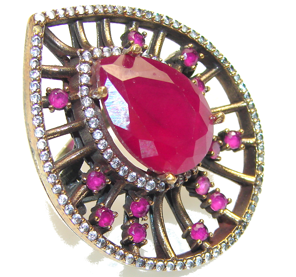 Big! Fashion Pink Ruby Sterling Silver ring s. 8 1/4