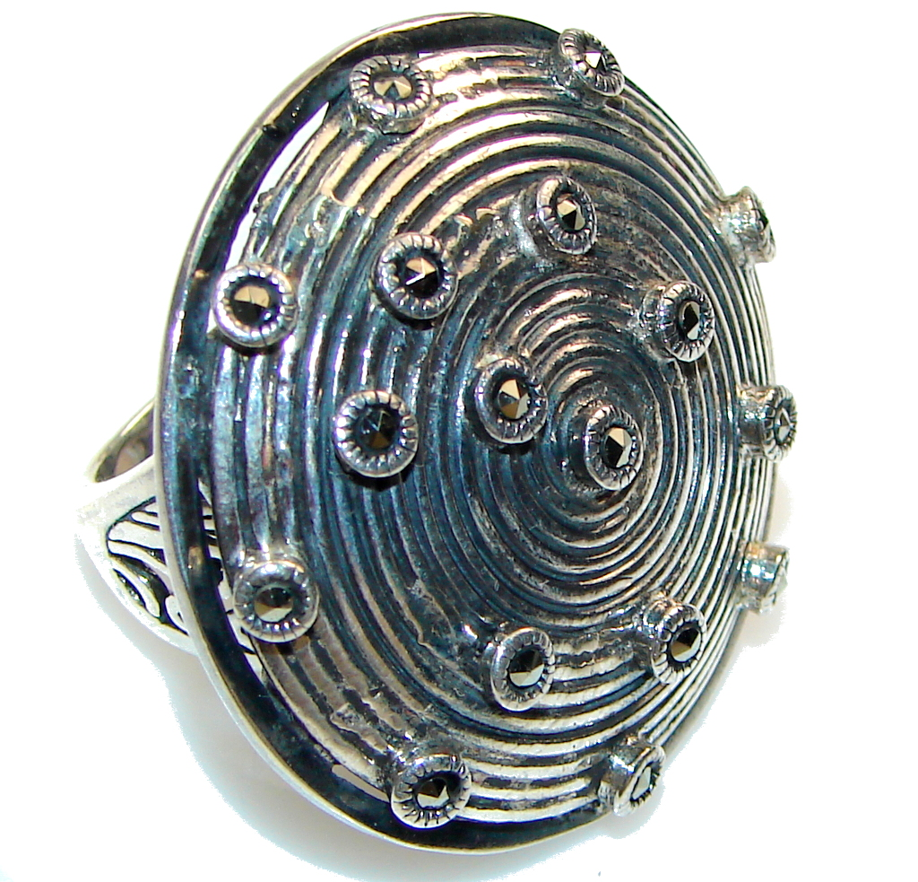 Big! Stylish Marcasite Sterling Silver Ring s.