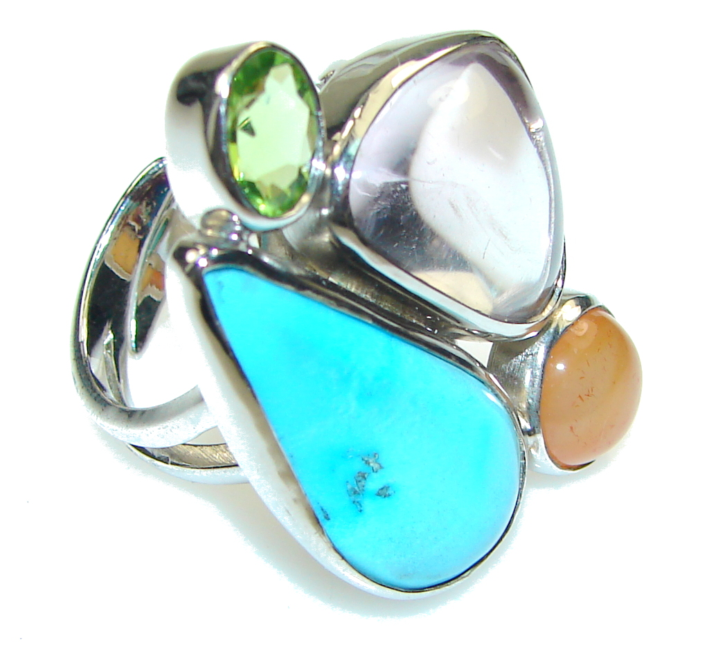 Sleeping Beauty Blue Turquoise Sterling Silver Ring s. 7 - Adjustable