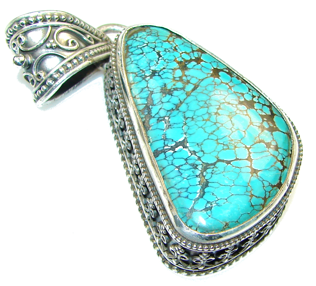 Circo Lake!! Blue Turquoise Sterling Silver Pendant