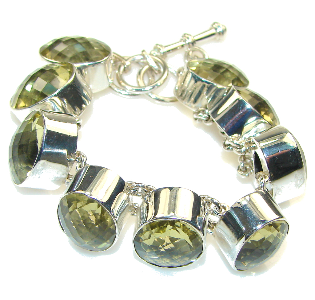 Amazing!! Yellow Citrine Sterling Silver Bracelet