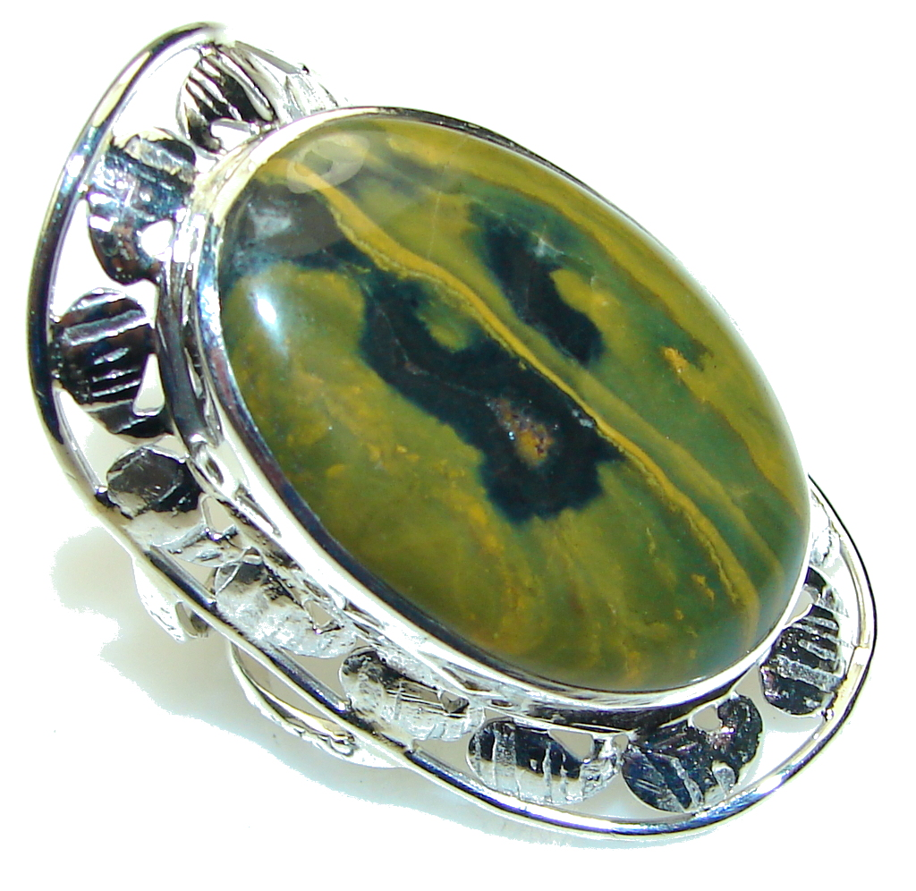 Beautiful! Green Ocean Jasper Sterling Silver Ring s. 11