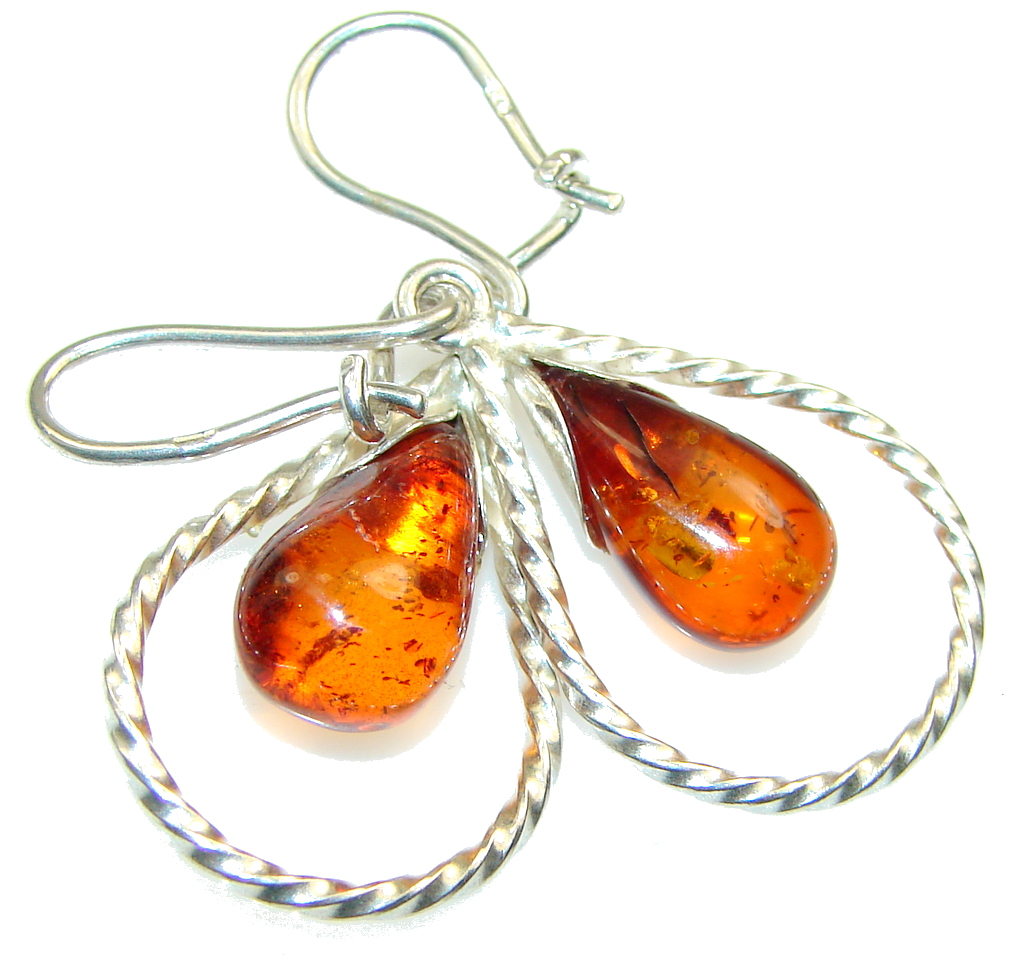 Amazing!! Polish Amber Sterling Silver earrings