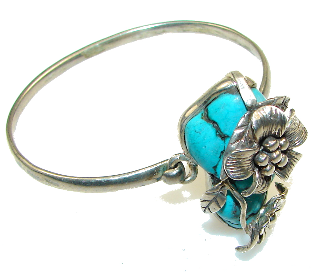 Precious! Blue Turquoise Sterling Silver Bracelet
